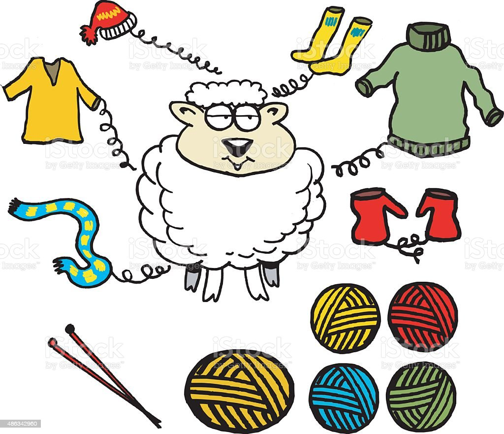 Vector Cartoon Of Sheep And Wool Products Stock ...