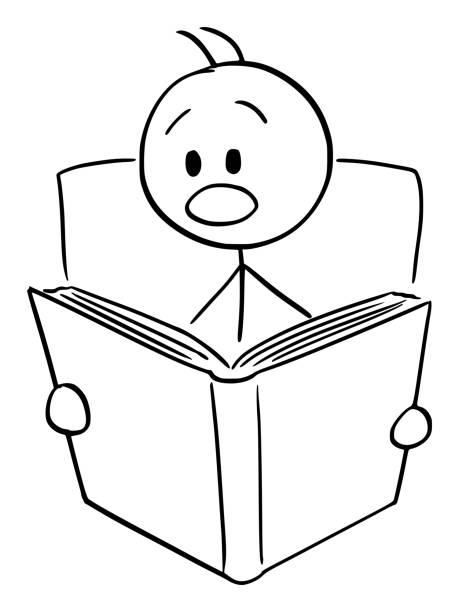 illustrazioni stock, clip art, cartoni animati e icone di tendenza di vector cartoon of shocked or frightened man reading scary or shocking book - thriller
