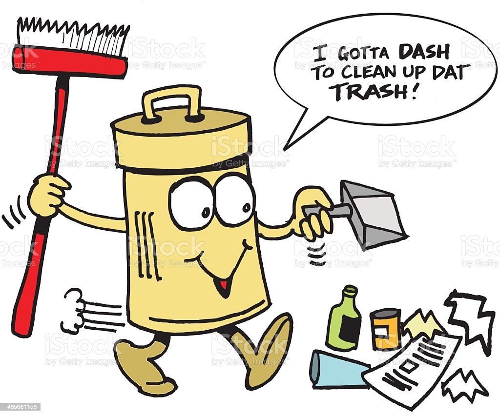 Vector Cartoon Of Smiling Trash Can Cleaning Up Rubbish
