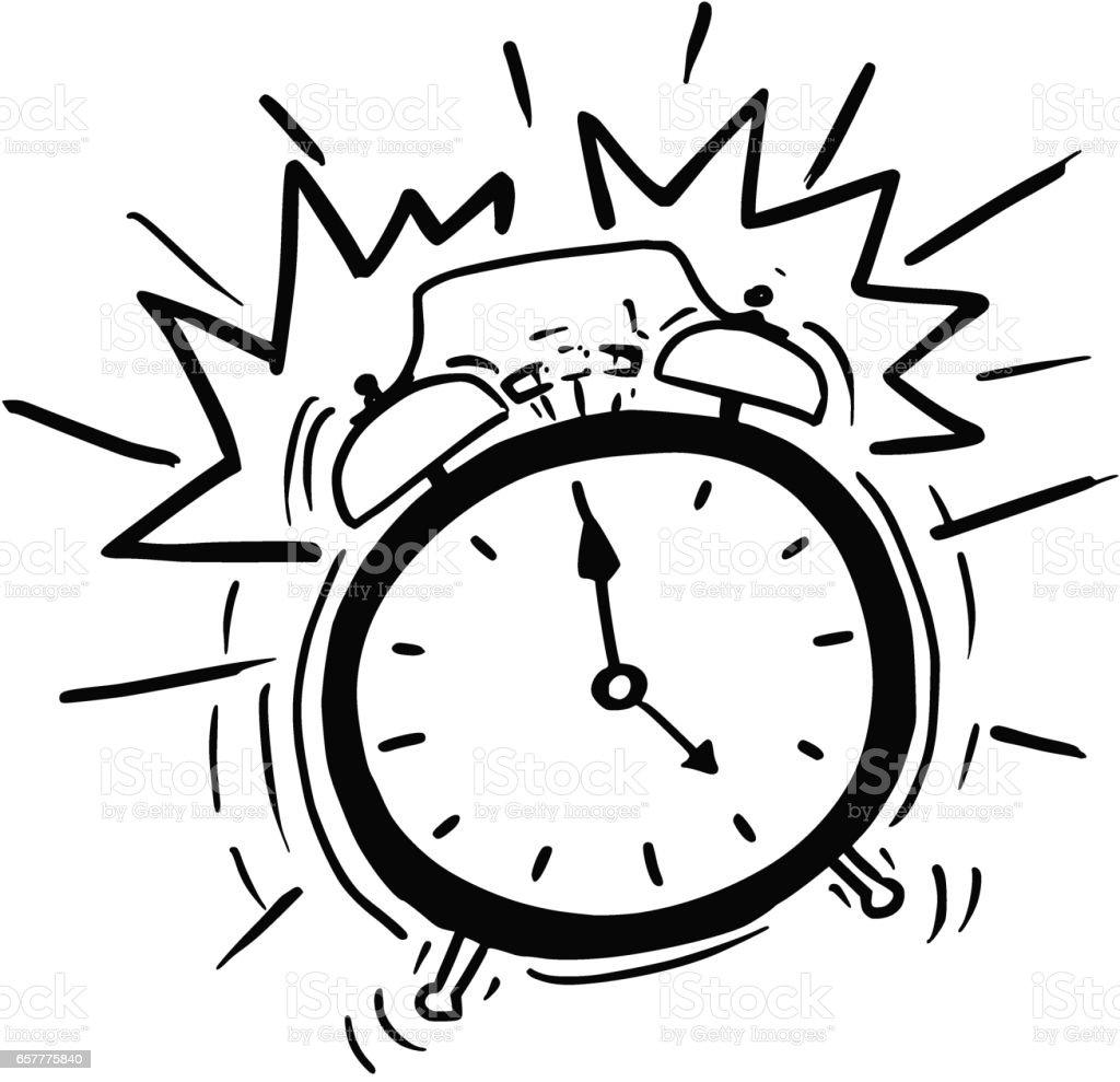 Vector Cartoon Of The Classicl Alarm Clock Ringing Stock ...