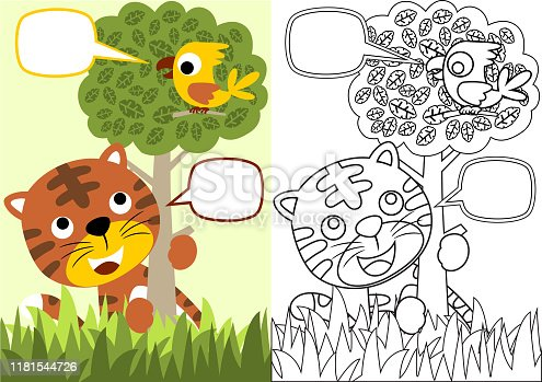 vector cartoon of tiger and little bird in the jungle, coloring book or page