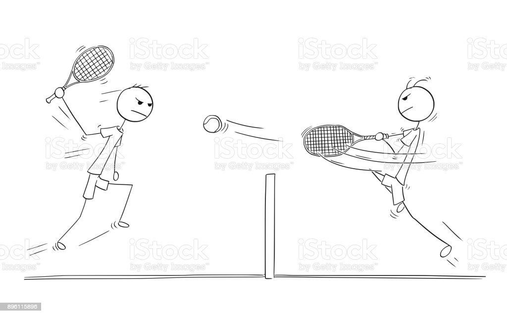 Vector Cartoon of Two Tennis Players Playing vector art illustration