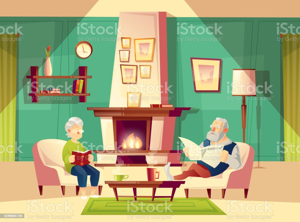 Vector Cartoon Old Man And Woman In Living Room Stock