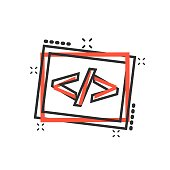 Vector cartoon open source icon in comic style. Api programming concept illustration pictogram. Programmer technology business splash effect concept.