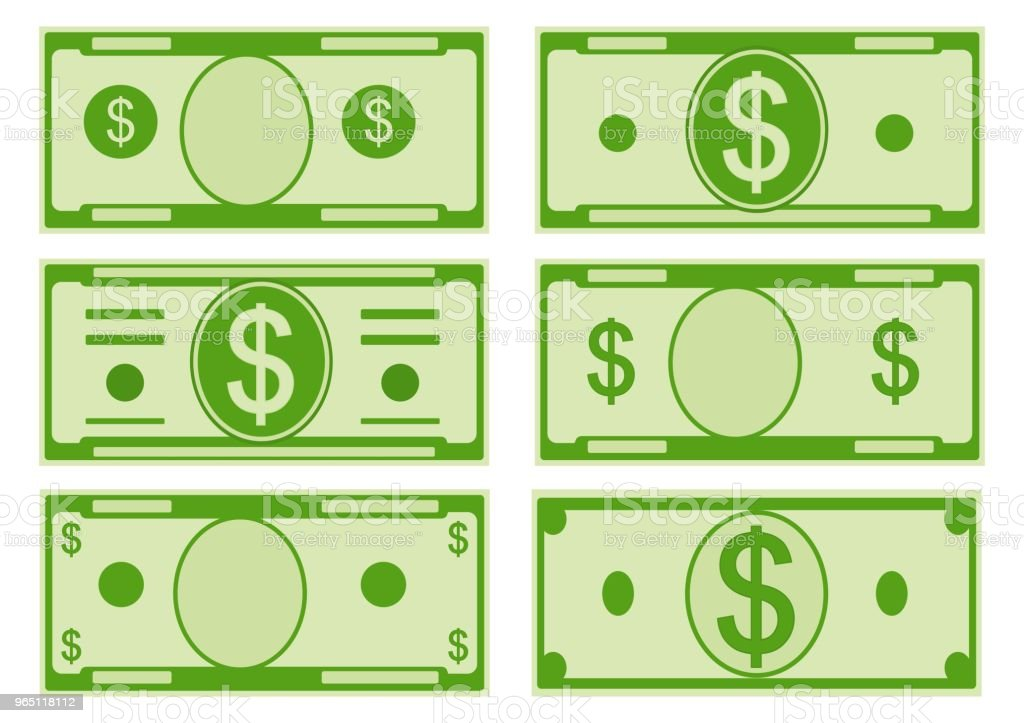 Vector cartoon options dollar banknotes. Front side. Vector illustration vector cartoon options dollar banknotes front side vector illustration - stockowe grafiki wektorowe i więcej obrazów banknot royalty-free