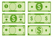 Vector cartoon options dollar banknotes. Front side. Vector illustration