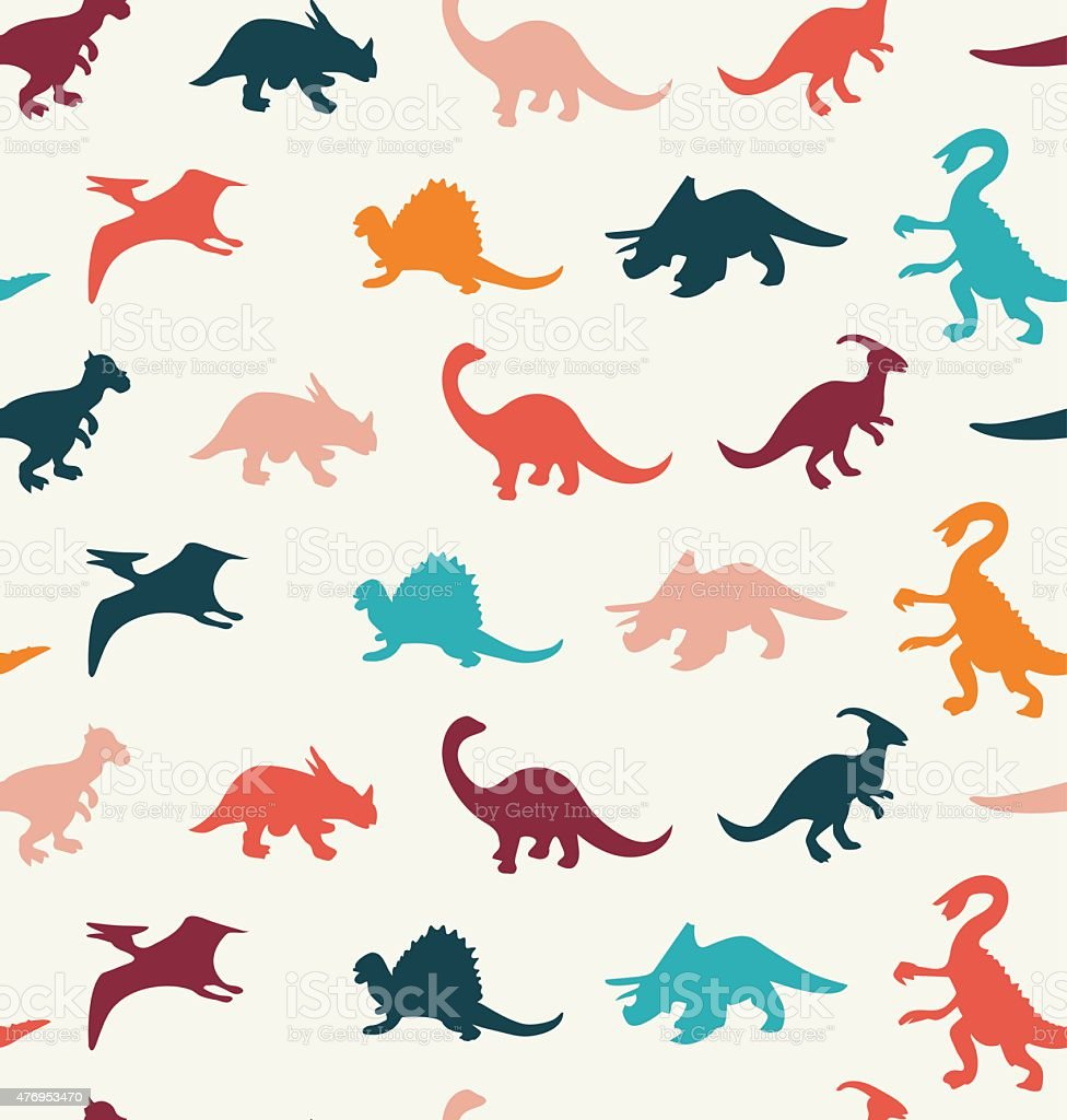Ilustración de Patrón De Vector De Dibujos Animados De Dinosaurios ...