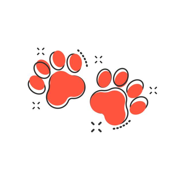 Vector cartoon paw print icon in comic style. Dog or cat pawprint sign illustration pictogram. Animal business splash effect concept. Vector cartoon paw print icon in comic style. Dog or cat pawprint sign illustration pictogram. Animal business splash effect concept. paw stock illustrations