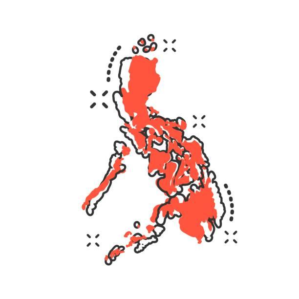 stockillustraties, clipart, cartoons en iconen met vector cartoon pictogram van de kaart van de filipijnen in komische stijl. filippijnen ondertekenen illustratie pictogram. cartografie kaart splash effect bedrijfsconcept. - filipijnen