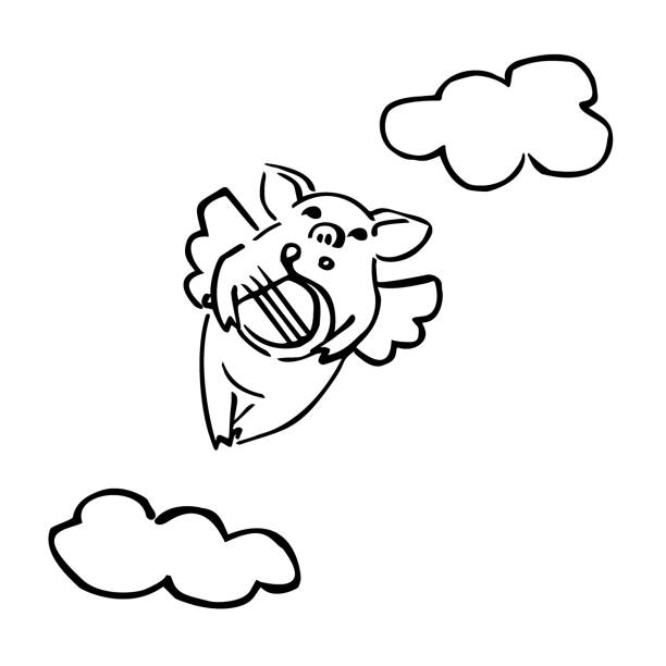 vector cartoon pig with arpa and cloud funny black and white piglet with cloudlet and harp ARPA stock illustrations