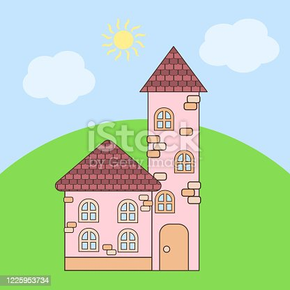 Vector cartoon pink house with a tower with brown roofs in summer