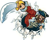 Vector Cartoon Pirate Rips Out Of Background