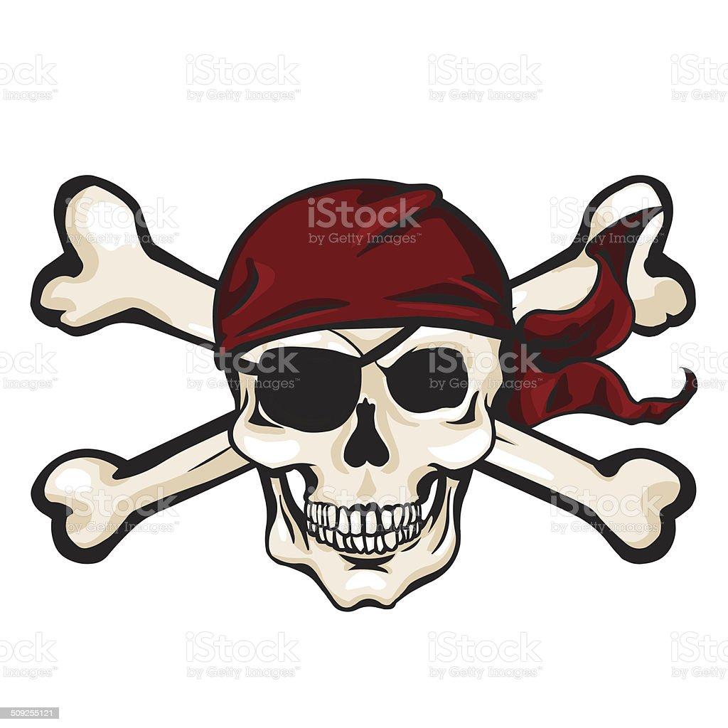 Immagini Di Teschio Pirati vettore fumetto di teschio pirata bandana rossa e ossa