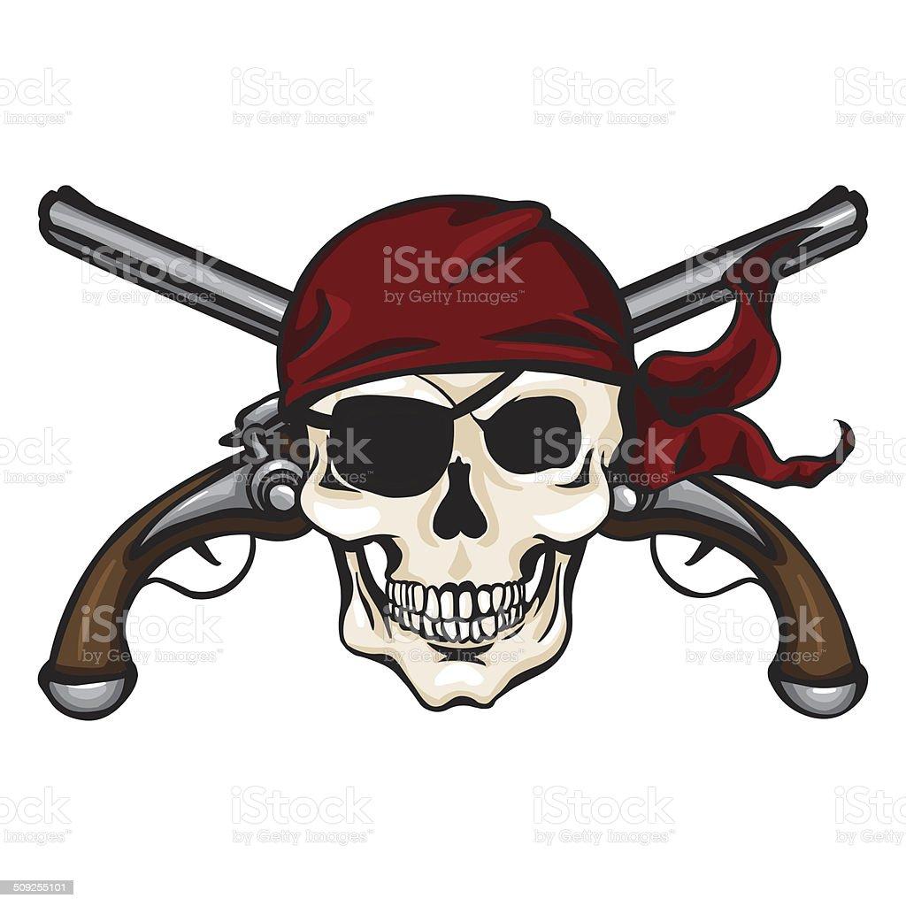Immagini Di Teschio Pirati vettore fumetto di teschio pirata bandana rossa con croce