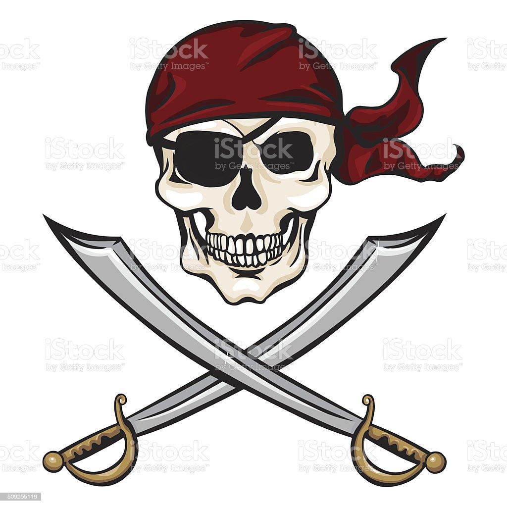 Vector Cartoon Pirate Skull in Red Bandana with Cross Swords vector art illustration