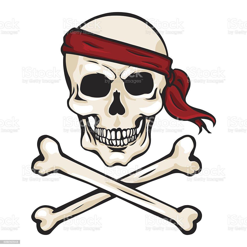 Immagini Di Teschio Pirati vettore fumetto di teschio pirata in rosso fascia per