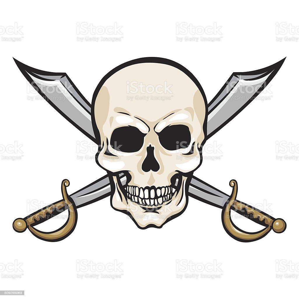 Immagini Di Teschio Pirati vettore fumetto di teschio pirata con croce di spade