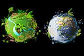 Vector cartoon planet evolution game design set