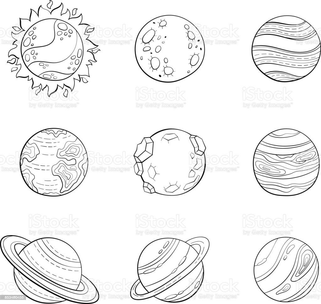 Ilustración De Planetas De Dibujos Animados De Vector
