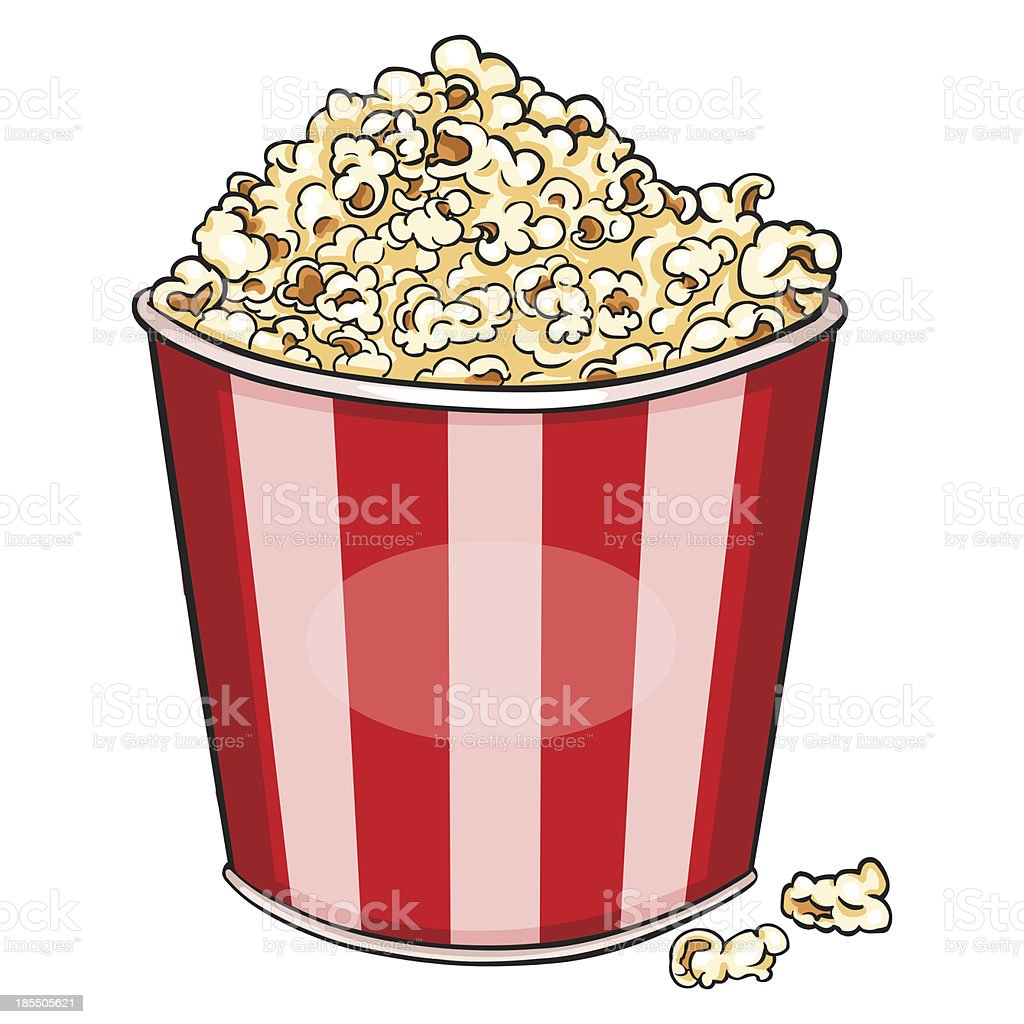 vector cartoon plastic bowl with popcorn royalty-free stock vector art