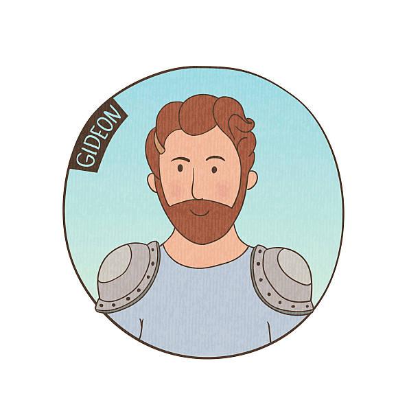 vector cartoon portrait of gideon. - old man portrait clip art stock illustrations, clip art, cartoons, & icons