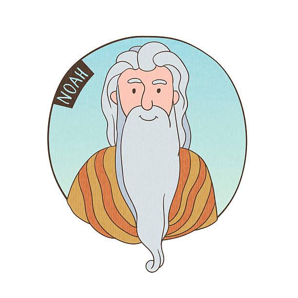 vector cartoon portrait of old noah - old man portrait clip art stock illustrations, clip art, cartoons, & icons