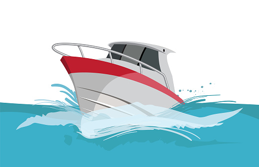 Vector Cartoon Power Yacht