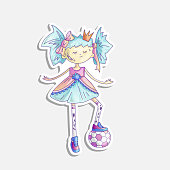 Vector cartoon princess illustration. Sassy girl princess with soccer ball in cute fairy tail dress and crown. Cute princess sticker, feminism concept. Strong brave princess with soccer ball sticker