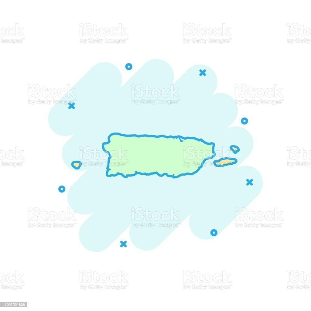 Vector Cartoon Puerto Rico Map Icon In Comic Style Puerto ...