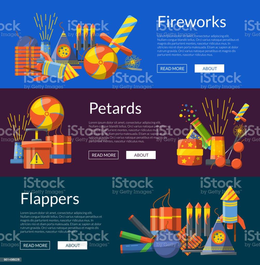 Ilustracion De Vector De Dibujos Animados Pirotecnia Banderas