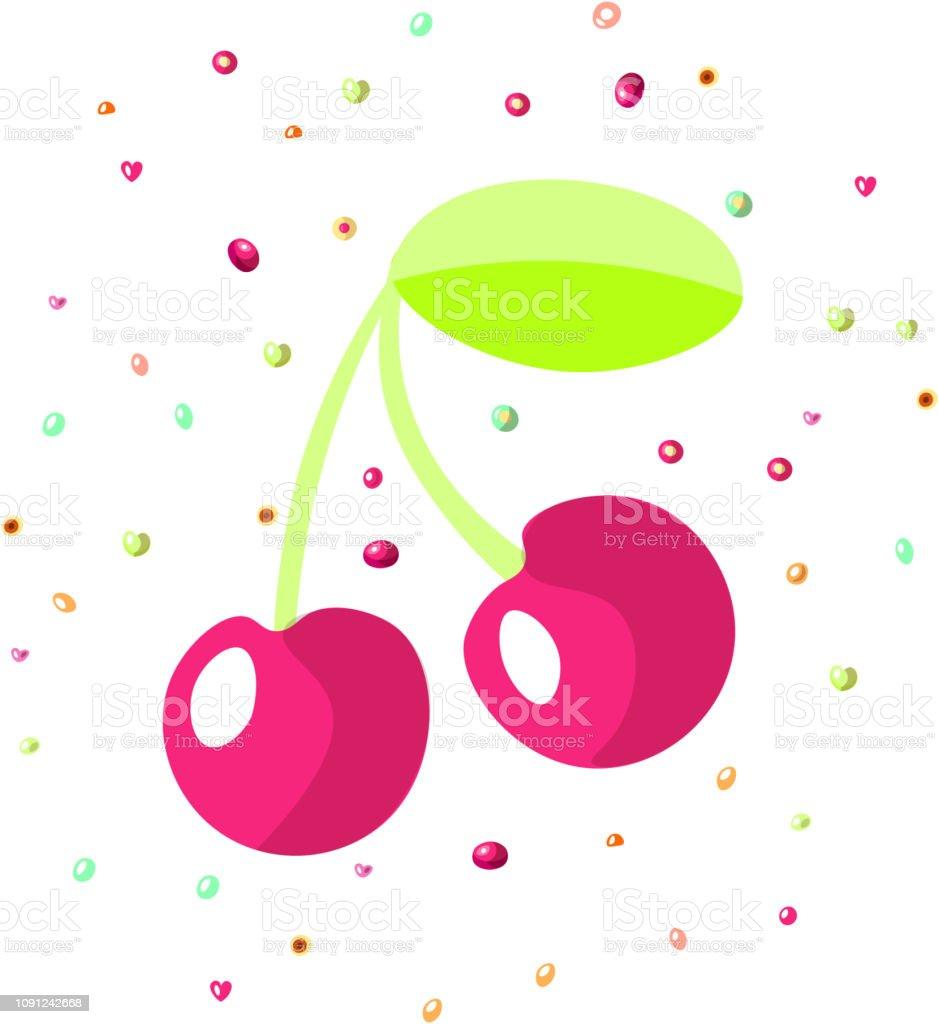 Vector cartoon red cherry icon. Bordo cartoon cherry icon with sprinkles isolated on white background. Vector cartoon cherry icon векторная иллюстрация