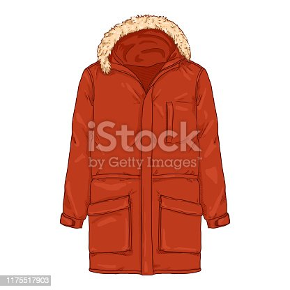 Vector Cartoon Red Parka Jacket. Winter Outerwear.