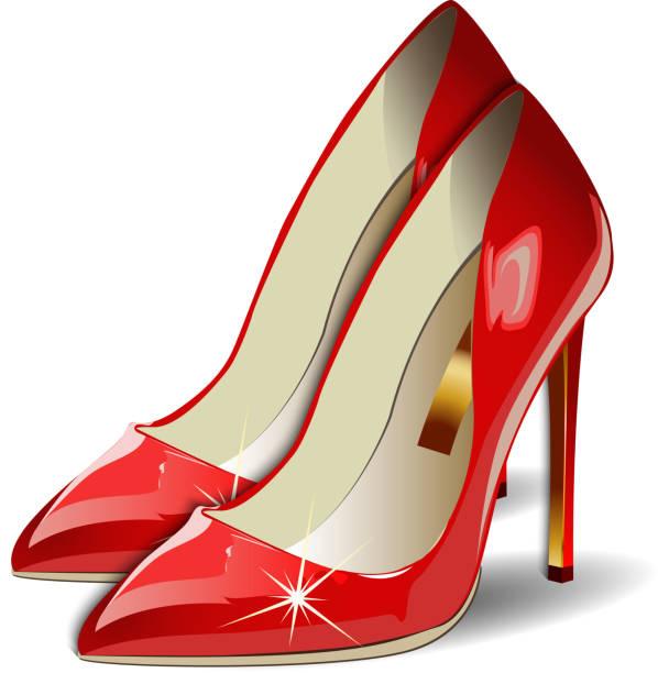vektor-cartoon rote frau schuhe auf weißem hintergrund - damenmode stock-grafiken, -clipart, -cartoons und -symbole