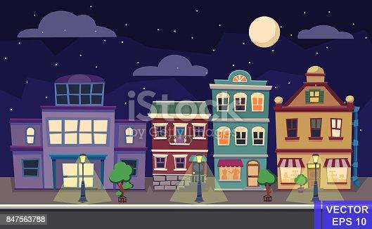 Vector cartoon retro afbeelding stad herbergt gevels landschap nacht