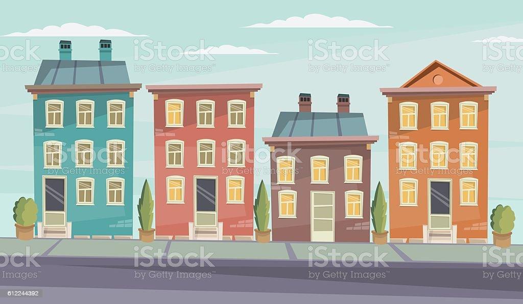 Vector cartoon retro illustration city houses facades landscape. vector art illustration