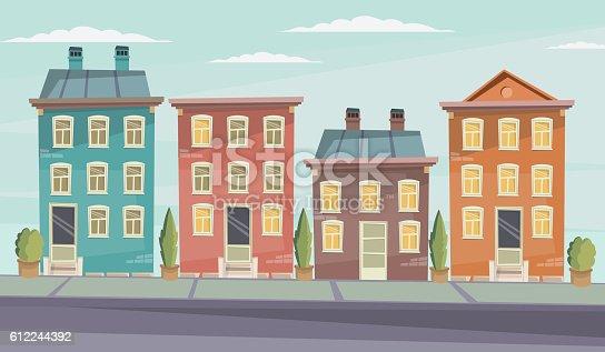 Vector Cartoon Retro Illustration City Houses Facades