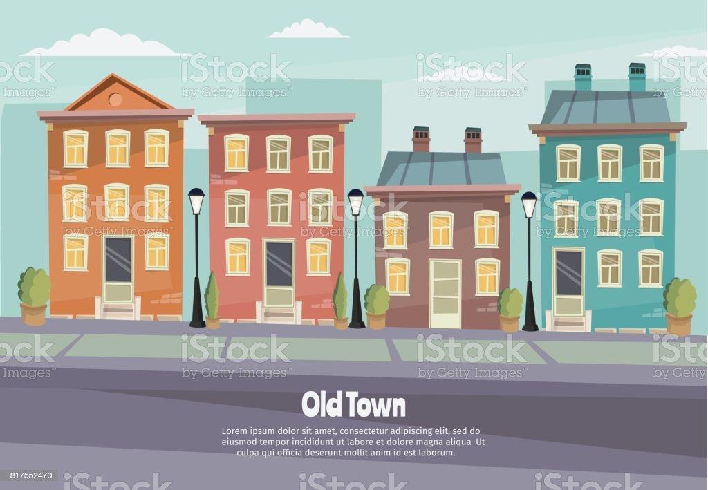 Vector cartoon retro afbeelding stad herbergt gevels landschap