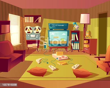 Vector illustration of cartoon living room at 80s, 90s. Video games, VHS recorder for children. Front view from sofa to TV set, vinyl player. Light from window on furniture, carpet. Domestic interior background