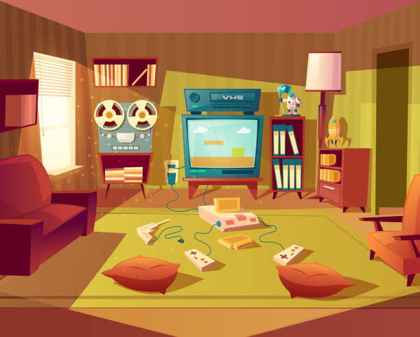 ilustrações de stock, clip art, desenhos animados e ícones de vector cartoon retro room with video games - living room background