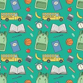 Vector cartoon retro seamless back to school pattern with simple shapes of school bus, notebook,backpack, alarm clock etc on green background. For flyer, card, cover, ad, brochure, promotional product