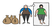 Vector cartoon rich old man with dollar money sacks but dreaming or thinking about his poverty or homeless when he was young