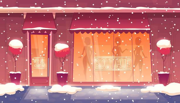 illustrations, cliparts, dessins animés et icônes de vector bande dessinée 24 heures sur 24 boutique avec vitrine éclairée - vitrine magasin