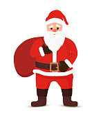 Vector cartoon Santa Claus with a white beard and gift sack. Christmas symbol in red clothing, brown boots with bag of presents. The traditional character of winter holiday. Funny old man.
