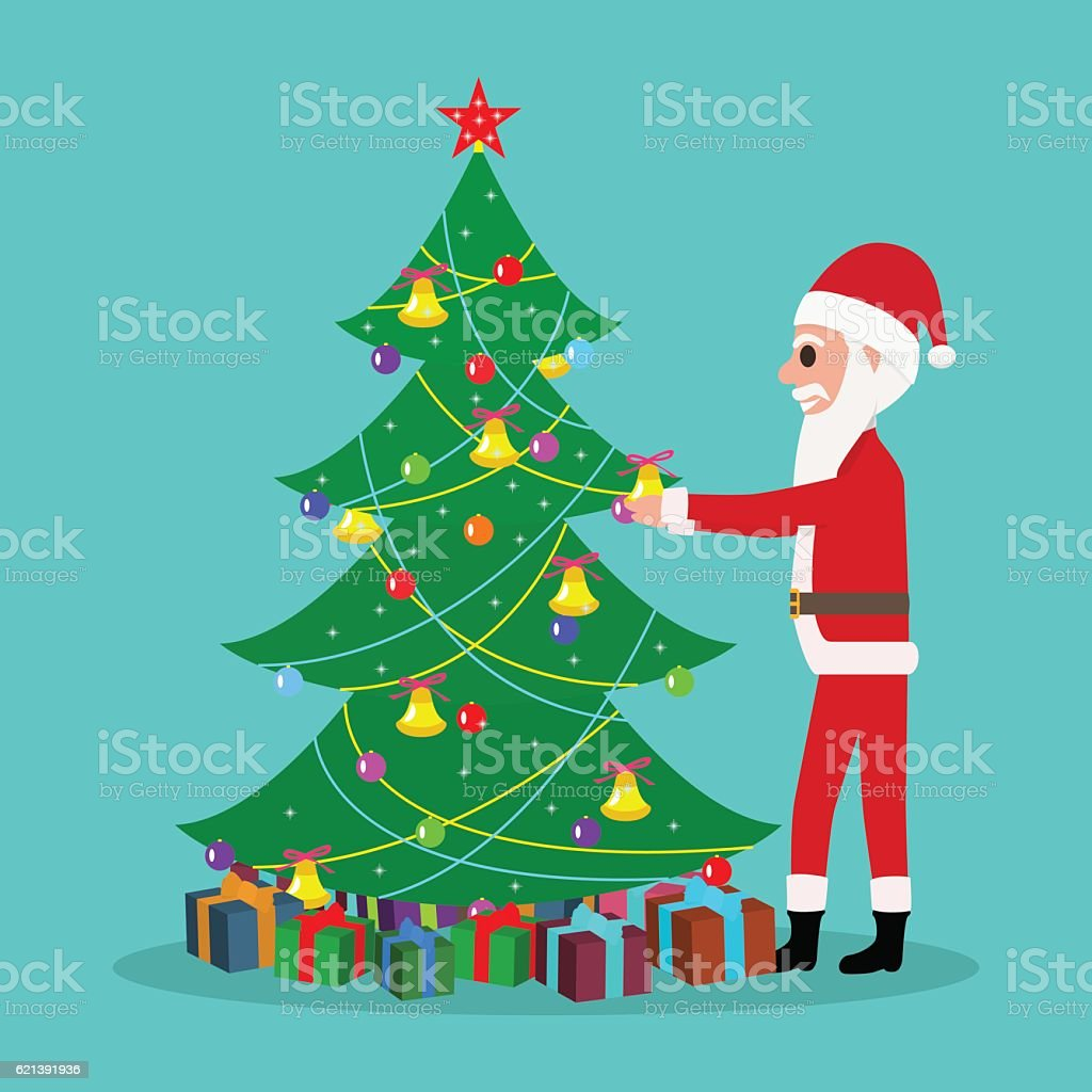 vector cartoon santa claus decorate christmas tree royalty free vector cartoon santa claus decorate christmas - Christmas Tree Santa