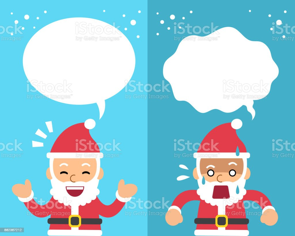 Vector cartoon santa claus expressing different emotions with speech bubbles vector art illustration