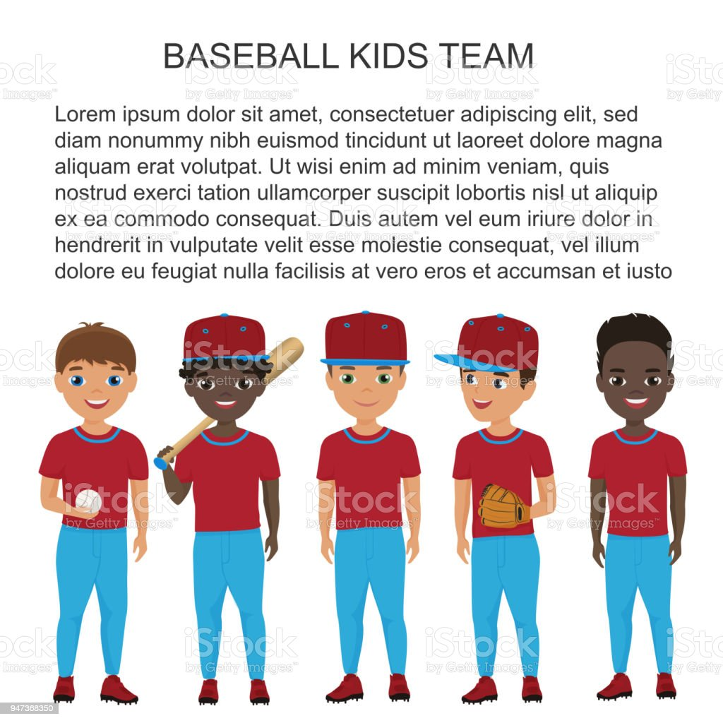 Vector School baseball kids team in uniform