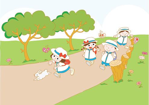 vector cartoon school kids go to school