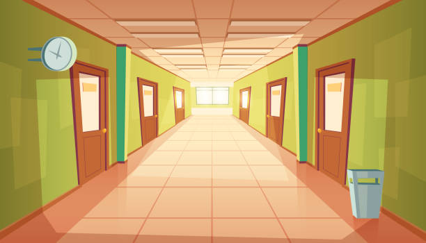 Vector cartoon school or college hallway, university corridor Vector cartoon school hallway with window and many doors. College corridor with rubbish bin and no people. Interior of university, education concept. campus stock illustrations