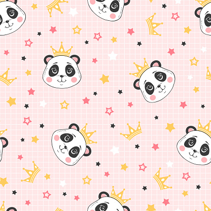 Vector cartoon seamless pattern with princess panda, crowns and stars on pink grid background