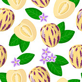 Vector cartoon seamless pattern with Solanum muricatum or Pepino exotic fruits, flowers and leafs on white background